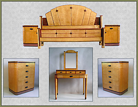 Birdseye Maple Art Deco Bedroom Set