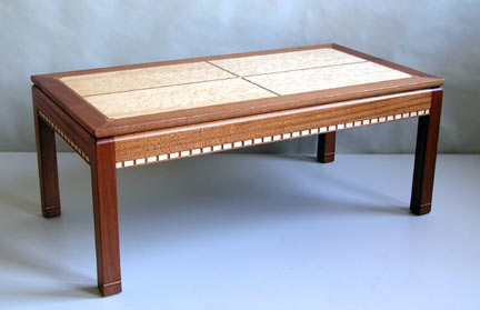 mahogany birdseye maple table