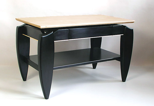 black lacquered television table