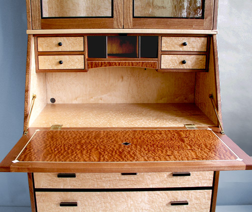 Birdseye Maple Secretary Desk