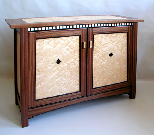 sapele birdseye maple mission cabinet