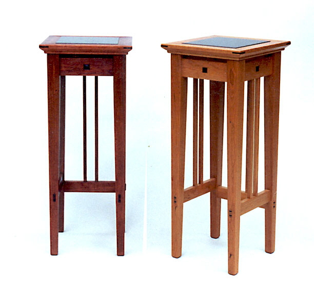 wood granite plant stands